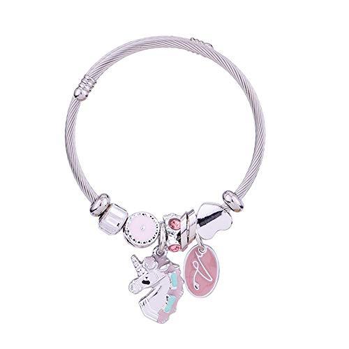 Einhorn-Charm-Armband für Mädchen, süßes rosa Kristall, verstellbares Einhorn-Armband mit Box, Geschenk für Mädchen