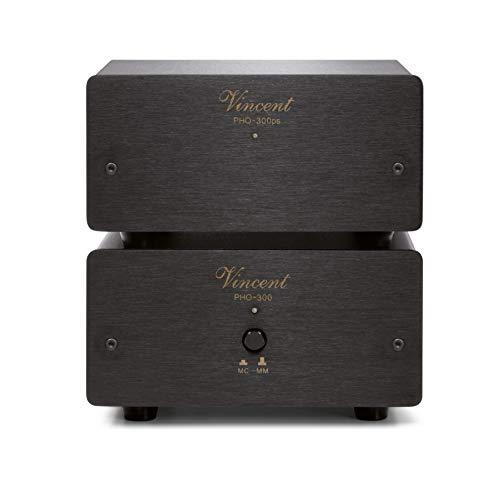 Vincent PHO-300 High-End Phonovorverstärker in Aluminium-Gehäuse, externes Netzteil, für Plattenspieler mit MM und MC-Abtast-Systemen, schwarz
