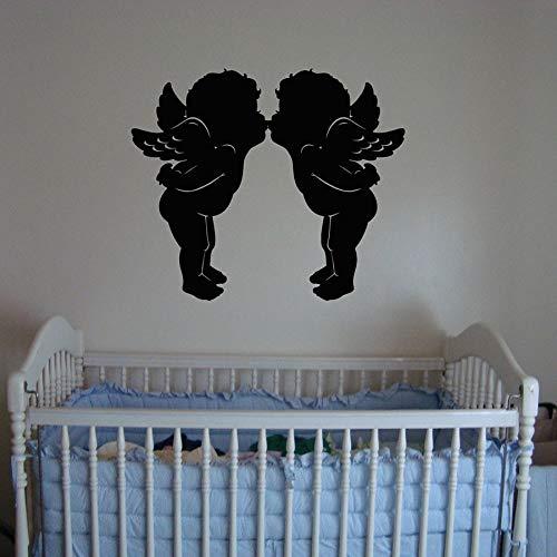 Dibujos animados lindo que representa amor beso etiqueta de la pared habitación del bebé jardín de infantes decoración de interiores lindo bebé alas mural vinilo etiqueta de la pared papel tapiz