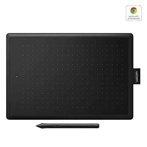 Wacom One by Wacom (CTL-672-N ) Stifttablett (mit drucksensitivem Stift, geeignet für Windows, Mac & Chromebook, Größe M) schwarz/rot - Ideal für Home-Office & E-Learning