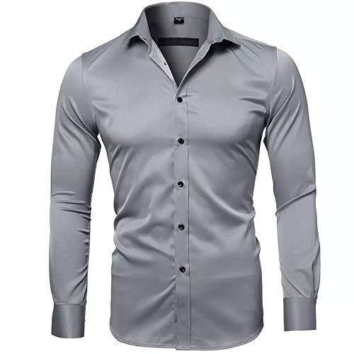 Gdtime Camisas De Vestir De Fibra De Bambú para Hombre Slim Fit Color Sólido Camisas Casuales De Manga Larga Camisas con Botones, Camisas Elásticas Formales para Hombres (Gris, S)