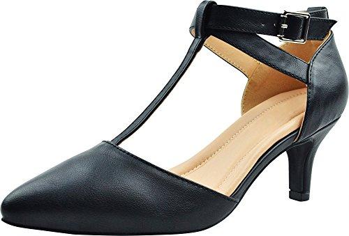 Cambridge Select Women's Pointed Toe T-Strap Mid Kitten Heel Pump,8,Black Pu