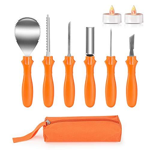 Joyjoz Zucca di Halloween Intaglio Set con 2 luci a LED di zucca, Set di utensili per intagliare, decorazione di Halloween, Strumenti acciaio inossidabile con custodia per il trasporto