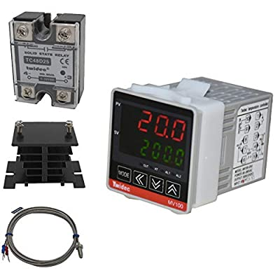 Twidec/ MV100-B10 Fahrenheit & Centigrade Digital Display PID Temperature Controllers Thermostat AC 85V - 265V with K Sensor Thermocouple with Heat Sink and 25A Solid State Relay SSR 25DA Or 40DA
