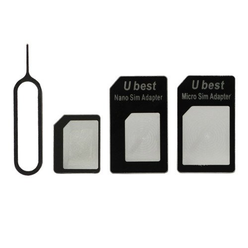 bIT-Service 4 in 1 Nano SIM to Micro SIM / Standard SIM Card Adapter and Eject Pin for iPhone 5 4S 4 iPad - Black