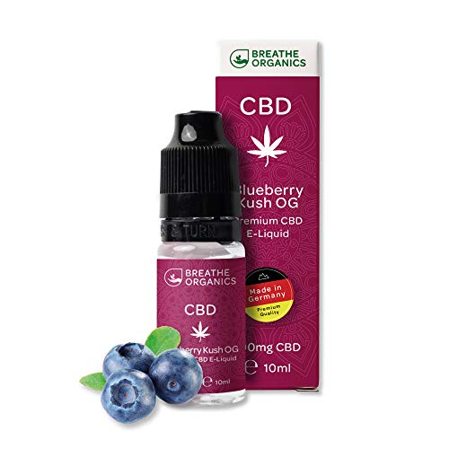 Premium CBD Liquid Blueberry Kush von Breathe Organics® | E Liquid ohne Nikotin mit 600 mg CBD | 100% natürliche Terpene | Cannabidiol Liquid | VGmax Basis