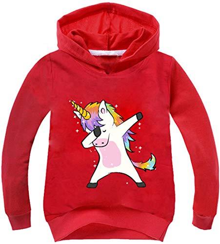 PANOZON Mädchen Kapuzenpullover 3D Einhorn Cartoon Druck Pulli mit Kapuzen Streetwear für Kinder (Rot135-24, 110)