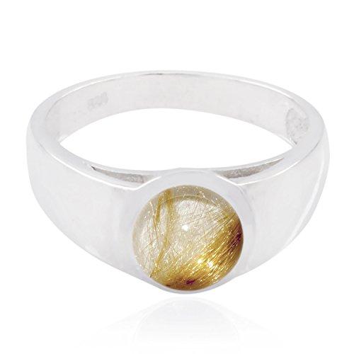 echte Edelsteine runden Cabochon Rutil Quarz Ring - Sterling Silber mehrfarbigen Rutil Quarz echte Edelsteine Ring - Top Schmuck meistverkaufte Artikel Geschenk für Halloween Stapeln Ringe