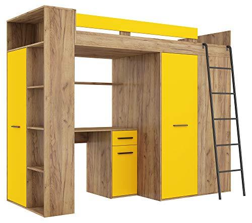 BIM Furniture Hochbett Etagenbett Entresole VERANA P Bett 190x90 cm mit Treppen Kleiderschrank Regal Schreibtisch Kinder Möbel Set Rechte Seite (Craft Gold/Gelb)