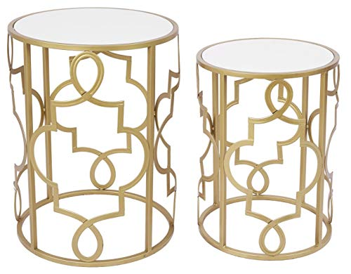 Gold&White Round Nesting Side End Tables Set of 2 in Wooden Top, Assembled Small Coffee Tables for...