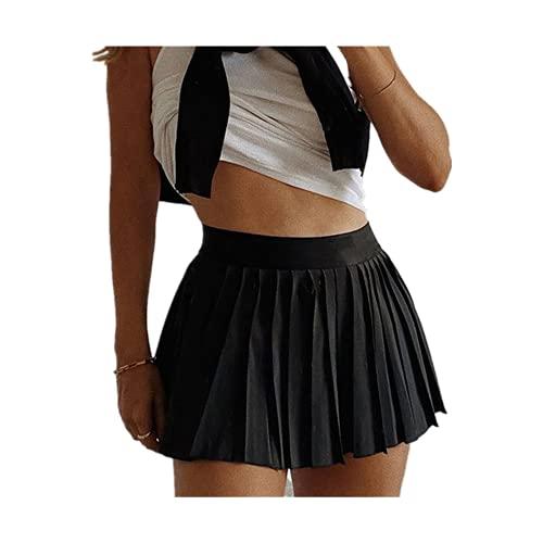 Una línea de cintura alta Minifalda con polainas Color sólido Volantes Campus Estilo Falda Verano Ropa Vintage Bolsa Jeans Tamaño
