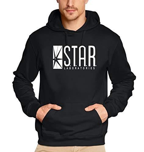 S.T.A.R. Laboratories Hoodie Sweatshirt mit Kapuze schwarz-Weiss Uni Gr.S