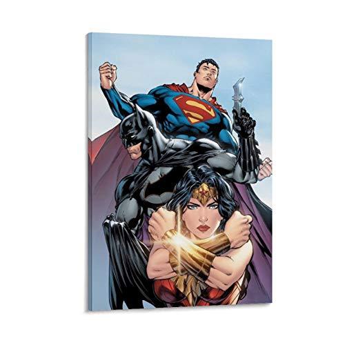 Ghychk Bat-Man & Super-Man Supereroe Justice-League - Stampa da parete per casa, ufficio, decorazione da parete, pronta da appendere, 30 x 45 cm