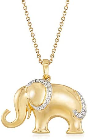 Ross Simons 18kt Gold Over Sterling Silver Elephant Pendant Necklace With Diamond Accent 18 product image