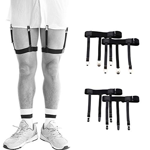 NEPAK 2 Pares(4 piezas) Estancia de la camisa de los hombres, ligas Ligas con abrazaderas de bloqueo antideslizantes para militares, policía