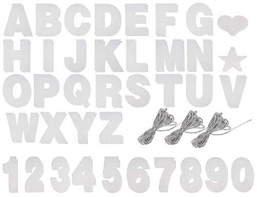 DIY Brievenbus en Glitter Numbers Set - Maak je eigen Banner met aanpasbare brieven voor afscheidsfeestdecoraties, bruiloftsfeestbenodigdheden - Inclusief 122 stuks en 3 touwen om op te hangen ZILVER