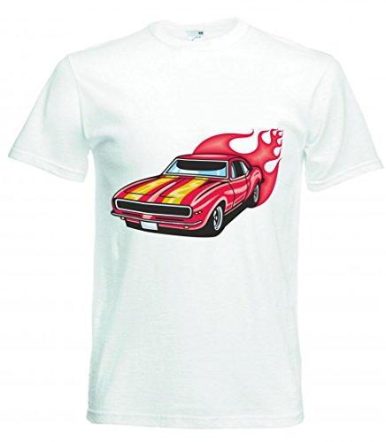 Camiseta Mustang Hotrod con Rayas y Llamas, Rojo, Amy, Estados Unidos, Coche,...