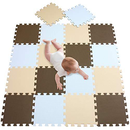 meiqicool Puzzlematte für Babys und Kinder,Spielteppich 18 Schaumstoffplatten mit Tieren in Einer Aufbewahrungstasche Dicker Spielmatte Nicht giftig,schadstofffrei, geprüft 010610