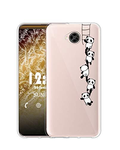 Sunrive Kompatibel mit HTC U Play Hülle Silikon, Transparent Handyhülle Schutzhülle Etui Hülle (TPU Panda 1)+Gratis Universal Eingabestift MEHRWEG