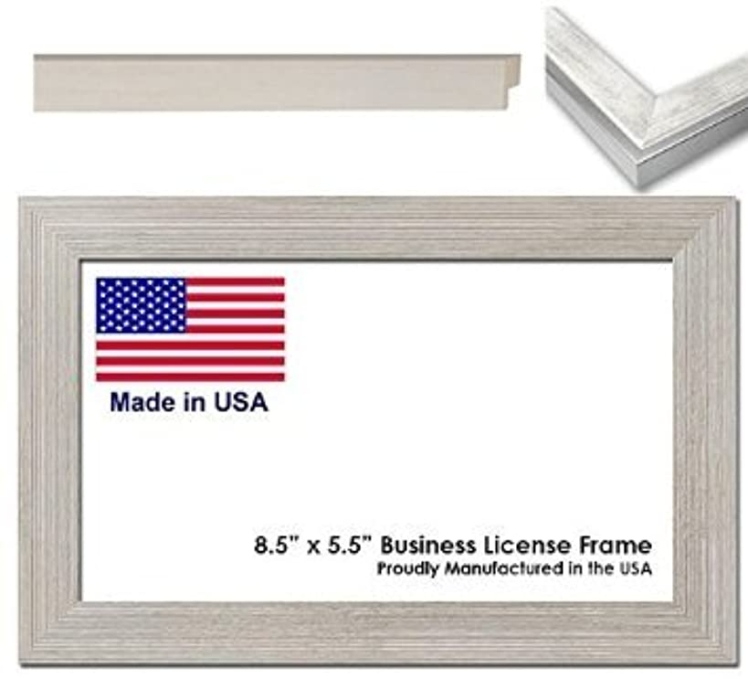 8.5 x 5.5 Inch Professional Business License Frame - White Wash Wood