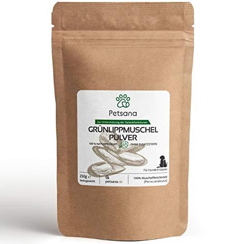 Petsana Polvo de mejillón verde para perros y gatos, 250 g, 100% extracto de mejillón verde Perna Canaliculus en calidad de grasa completa, producto natural para articulaciones
