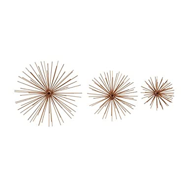 Deco 79 50388 Metal Copper Wall Star Set of 3