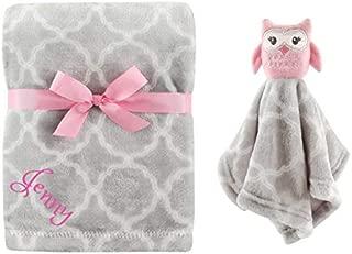 Personalized Blanket/Security Blanket Custom Blanket Monogram Baby Blanket Baby Shower (Girl Owl)