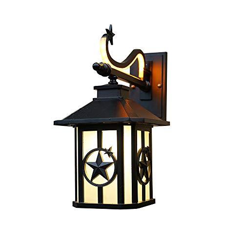 Pumnple De Pared Exterior Luz En Negro Hecho De Paredes Interiores de Aluminio E27 lámpara de Pared for Exterior /, casa, terraza y jardín del balcón de Cristal Linterna [Clase A ++ Energía]