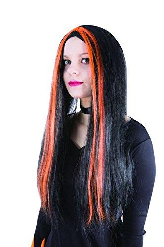P'tit Clown - 11502 - Perruque Sorcière - Noir - Mèches Orange - Taille Unique