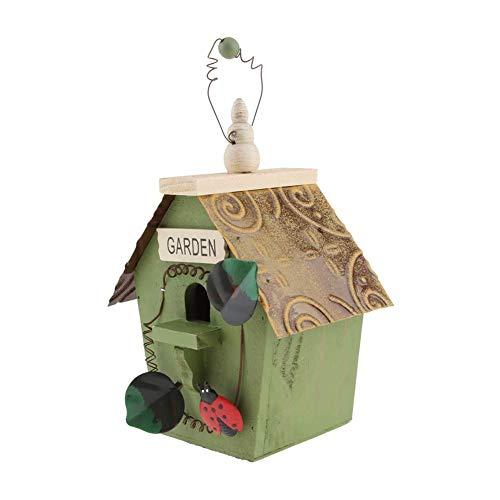 JUANstore Nichoir Exotiques Bois pour Oiseau,Maison en Bois Oiseaux Maison Repos Corde Suspendue pour Jardin Extérieur,Vert