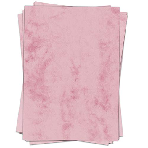 50 Blatt im Set: Briefpapier Marmor rosa - edel - Papier DIN A4 - beidseitig marmoriert