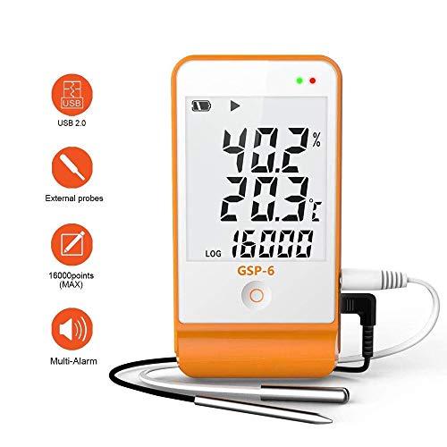 温湿度データロガー デジタル温湿度計 ミニ温湿度記録計 GSP-6 大型液晶表示 外部センサーで温度/湿度を高精度記録 小型 軽量 記憶容量16000ポイント USB転送 アラーム機能 Win/Mac対応 各種温度/湿度管理用