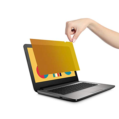 VistaProtect – Premium Blickschutzfilter und Anti-Blaulichtfilter, Privacy Filter Anti Blue Light Blickschutzfolie für Laptops und Notebooks (14″ Zoll - Gold)