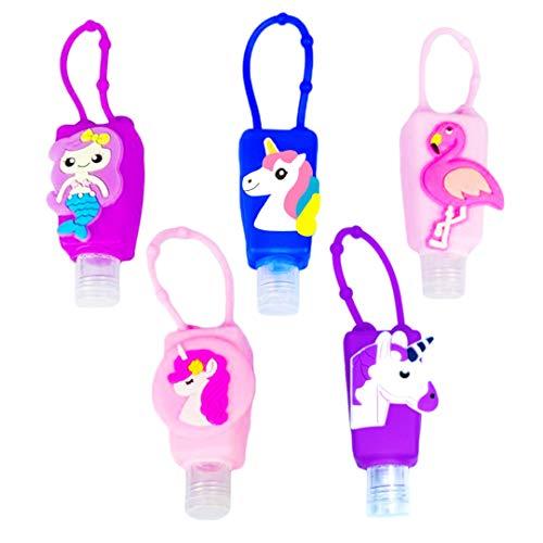 Hand Sanitizer Holder Keychain, Kids Hand Sanitizer Holder for Backpack, 1 oz, Clip on, Mini, Refillable, Empty, Hand Sanitizer Bottles, Bath and Body Works Pocketbac Hand Sanitizer Holder, (5 PCS)