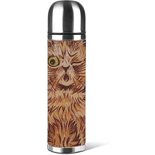 eine orangefarbene Katze mit einem Auge geschlossen Kaffeetassen mit Deckel Leder rutschfest, Auto tragbar Reise Tee Kaffee Vakuum Thermoskanne Tasse