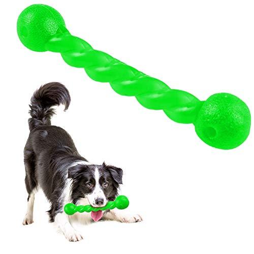 Qianyou Hundespielzeug für Zähne, Gummi Spirale Kauknochen Ungiftig Unzerstörbar Hundemolarenstab Welpen Intelligenzspielzeug Weich Beißwiderstand Hundezahnbürste Haustier Mundpflege, Groß/Grün