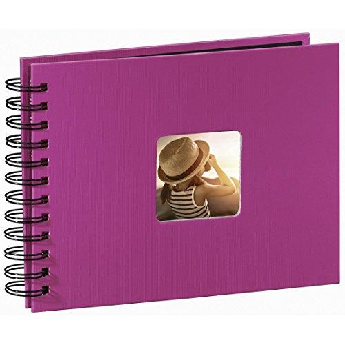 Hama Fotoalbum Spiralalbum, 50 schwarze Seiten, 25 Blatt, Größe 24 x 17 cm, mit Ausschnitt für Bildeinschub, Fotobuch pink