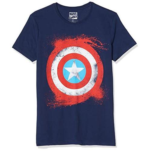 Marvel Captain America Shield T-Shirt, Blu, X-Large Uomo