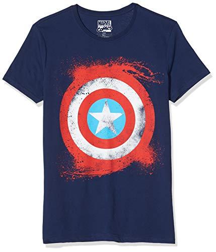 Marvel Men's Captain America Shield Short Sleeve T-Shirt, Blue, Medium [Importación Inglesa]