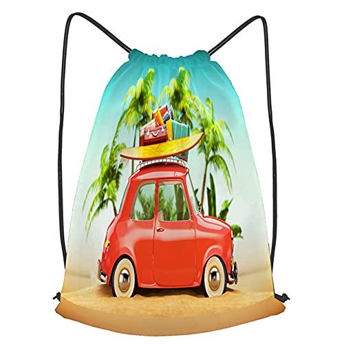 WANGXJ Impermeable Bolsa de Cuerdas Saco de Gimnasio maletas de tabla de surf de coche retro divertido en Deporte Mochila para Playa Viaje Natación