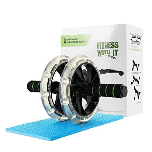 Rodillo abdominales, WeyTy AB Wheel Rueda para Flexiones Entrenamientos de Abdominals Push Up con Cojín del Arrodillamiento, Perfecto para Fitness Casa, Entrenamientos de Abdominals, Unisex