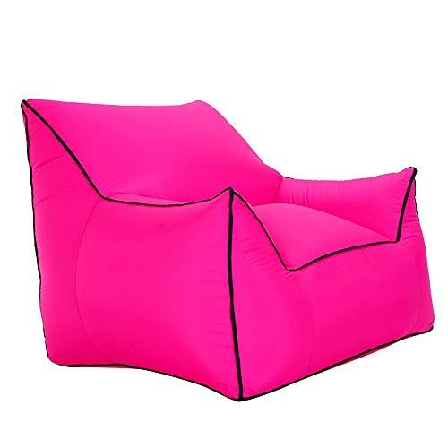 BRFDC Folding Sofa Lazy Sofa Chair Outdoor Inflatable Sofa   Leisure Seat   Swimming Pool Beach Sun Bath Sofa   Free Air Pump   Load Capacity 200kg   80×95×80cm (Color : Rose red)