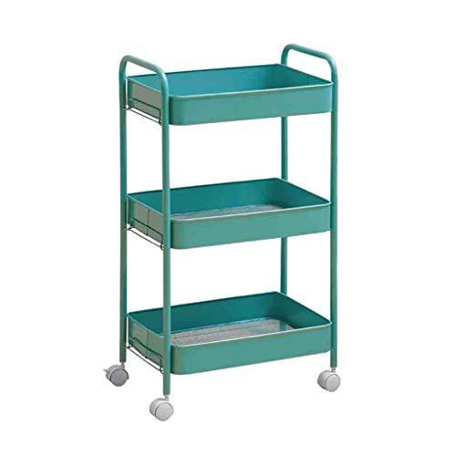 KANJJ-YU Carrito de salón de belleza para herramientas de uñas para el pelo, almacenamiento de juguetes para el coche, sala de estar, cocina, soporte para tazas (azul, tamaño: 30 x 45 x 76 cm)