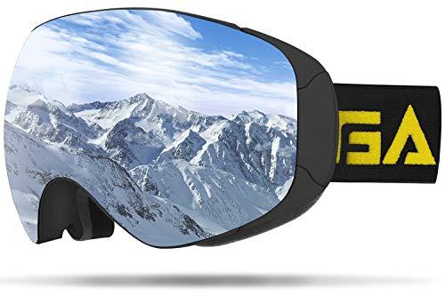 GANZTON Skibrille Snowboard Brille Doppel-Objektiv UV-Schutz Schneebrille Anti-Fog Snowboardbrille mit Magnetischer Gläser,Helmkompatible für Brillenträger Herren Damen Erwachsene Silber