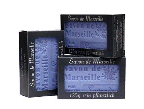100% Naturseife: 3 x Lavendelseife à 125 Gr., Seifenset (Savon de Marseille)