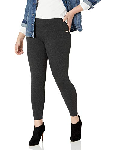 Calvin Klein Women's Premium Performance Double Waistband Moisture Wicking Legging (Standard and Plus), Noir Heather, 2X