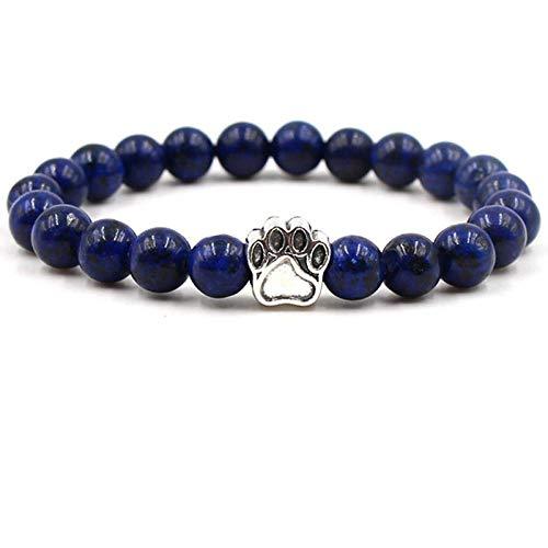 NA Armband SchmuckNatürliche Lavastein Perlen Chakra Armband Für Frauen Männer Hund Katze Pfote Charm Strand Armbänder Yoga Armreifen Handgemachter Schmu