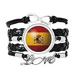 スペインの国旗のサッカー・ワールドカップ 愛のアクセサリーツイストレザーニットロープリストバンド編み