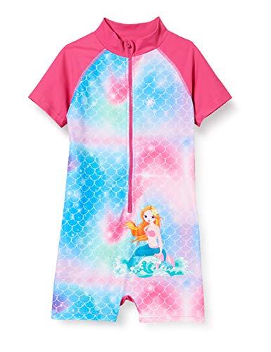Playshoes Mädchen Meerjungfrau UV-Schutz Badeanzug Sonnenanzug, pink, 110/116