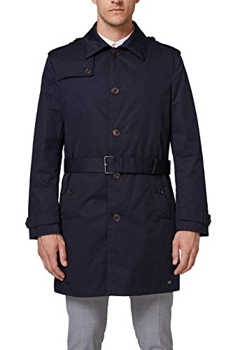 ESPRIT Collection Herren 078EO2G006 Mantel, Blau (Navy 400), Large (Herstellergröße: 50)